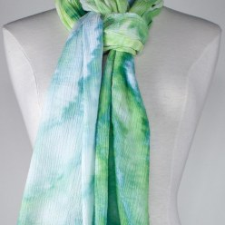 tied travel scarf in soft gauze snowdyed toronto ontario canada by textile artist doris lovadina-lee