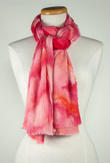 red and pink snow dyed travel scarf great gift for women snow dyed in canada by doris lovadin