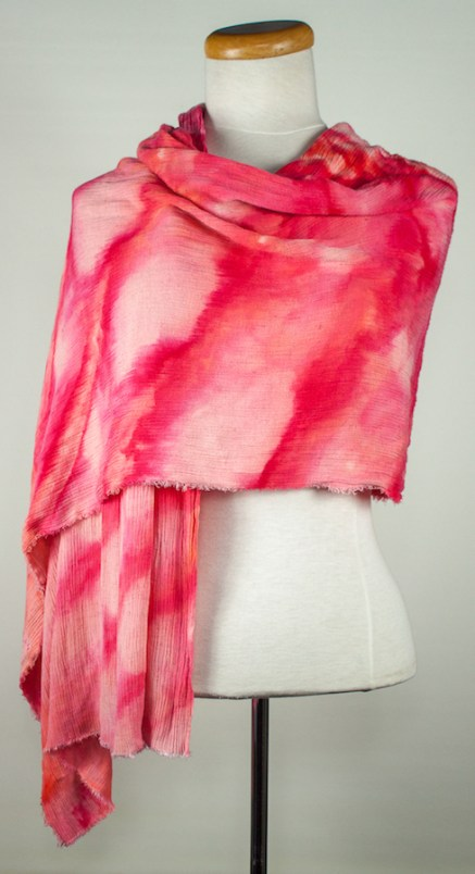 front draped crinkle travel scarf pinks and reds snow dyed in canada