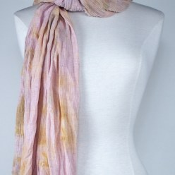 Pastel peach linen/rayon travel scarf snow dyed in toronto canada by doris lovadina-lee
