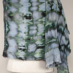 back view of crinkle rayon scarf snow dyed in toronto ontario canada