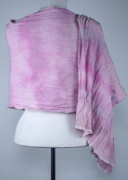 back view of travel scarf snow dyed in canada by doris lovadina-lee soft pink color