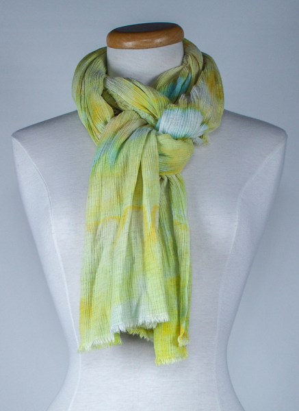 Spring Meadow linen and rayon travel scarf tied around the neck by doris lovadina-lee