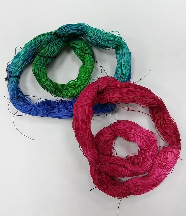 Hand dyed crochet cotton in fuchsia and green by Doris Lovadina-Lee Toronto Textile artist