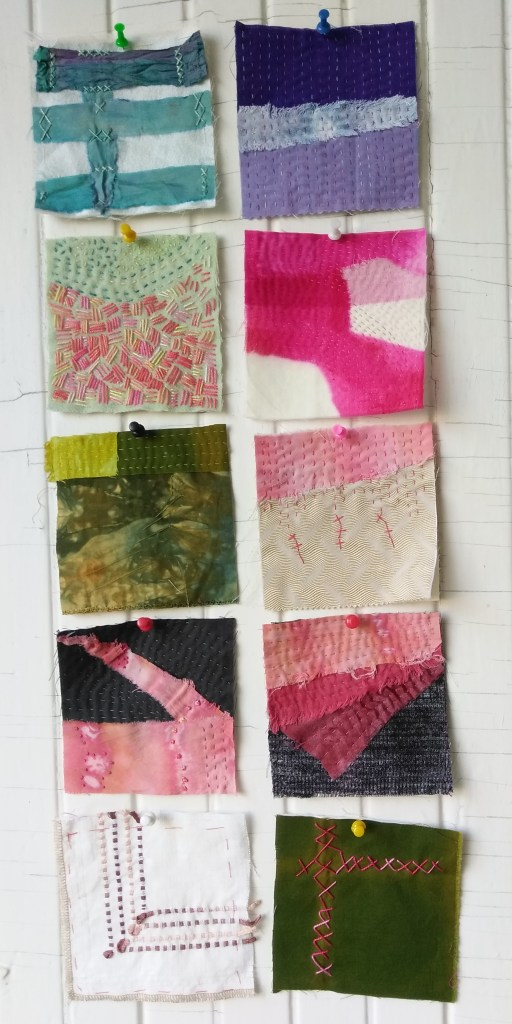 10 five inch squares review from the 100 day stitch meditation project hand stitched meditatively by doris lavadina-lee toronto artist