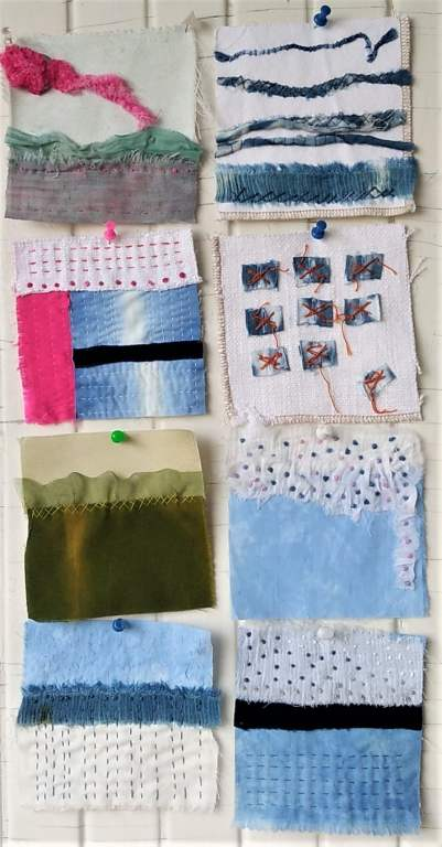 8 embroidered squares from the 100 day stitch meditation project by doris lavadina-lee toronto artist