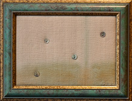 four small buttons stitched onto hand dyed silk in 5x7 inch frame by doris lovadina-lee