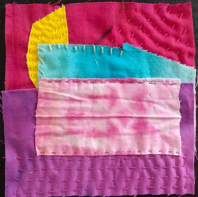 """5"""" square embrodered with red, purple, yellow and turquoise fabrics by doris lovadina lee toronto ontario canada quilter"""