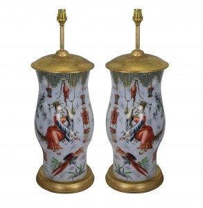 A pair of declamania hand painted table lamps