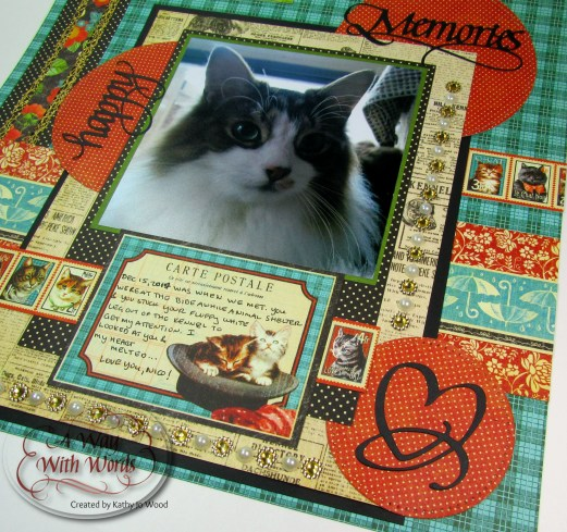 Elizabeth Craft Designs Graphic 45 Suzanne Cannon Way With Words Raining Cats and Dogs Scrapbook Layout Kathy Jo 5