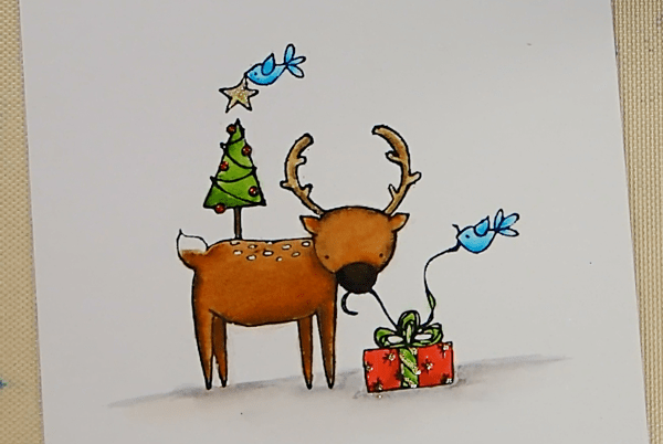 Deer Friends Christmas Card - Step 1