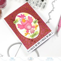 Two-toned glitter background Parrot card
