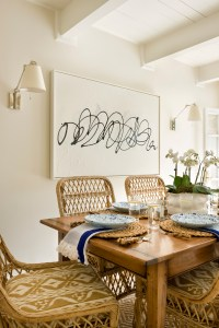Dining Table with Rattan Chairs and White Walls, Sarah Bartholomew