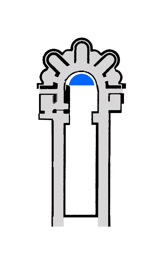 En plus réaliste (en bleu les vestiges antérieurs - chap Saint-Lubin)