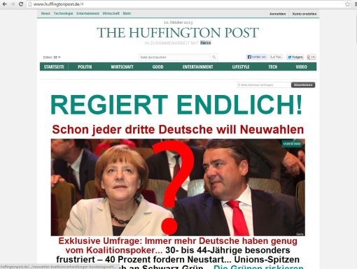 Screenshot der Huffington Post Deutschland