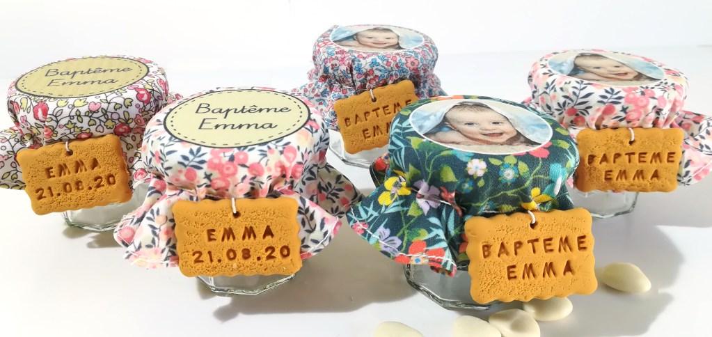 petit pot dragées baptême liberty, fleuri, rose, bleu, vert, photo, gourmandise, photo