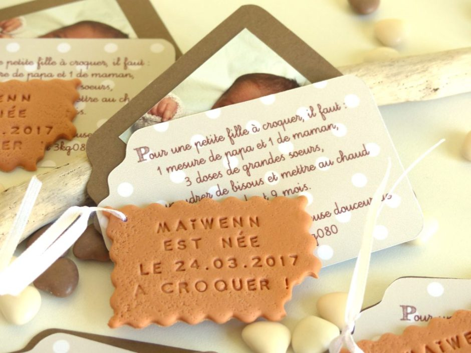Faire-part biscuit beige, taupe, pois, biscuit