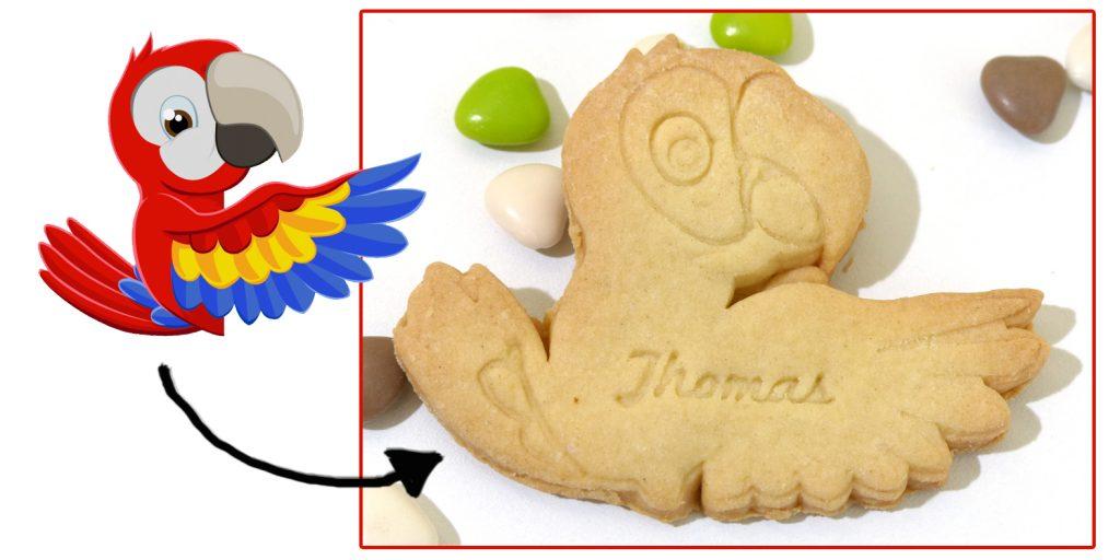 biscuit personnalisé perroquet