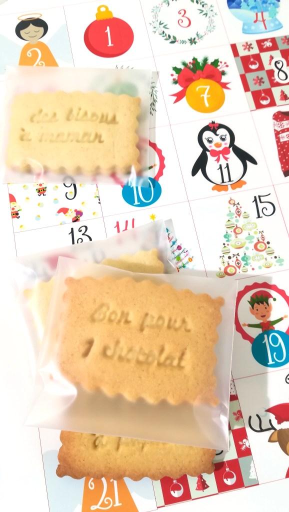 calendrier avant, biscuit message, texte, petit bonheur, action positive, diy