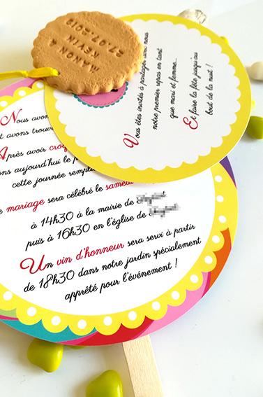 Faire-part sucette, pour mariage thème gourmandise, multicolore, gourmand