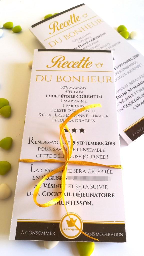 Faire-part tablette de chocolat, personnalisée avec photo et texte, lindt, chic.