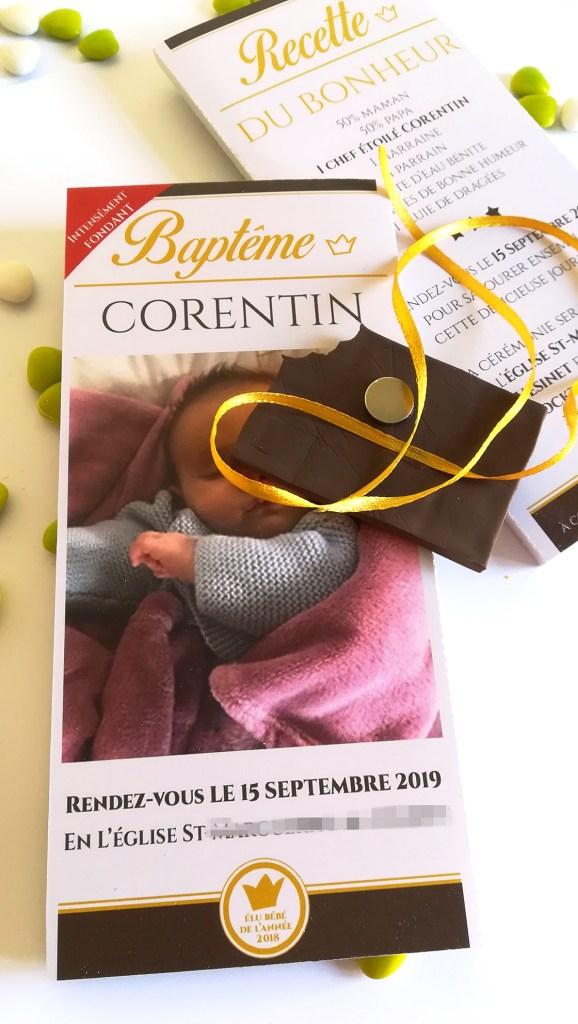 Faire-part de baptême ou naissance, tablette chocolat grand format personnalisé
