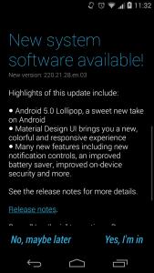 Lollipop Update Notification