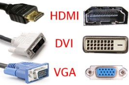 HDMI, DVI, and VGA are used to connect the monitor to the computer.