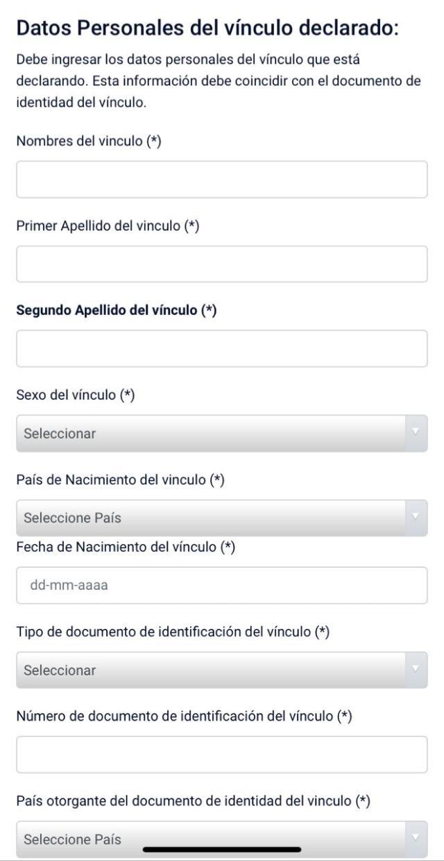 Formulario de vinculo para la PEDE Online