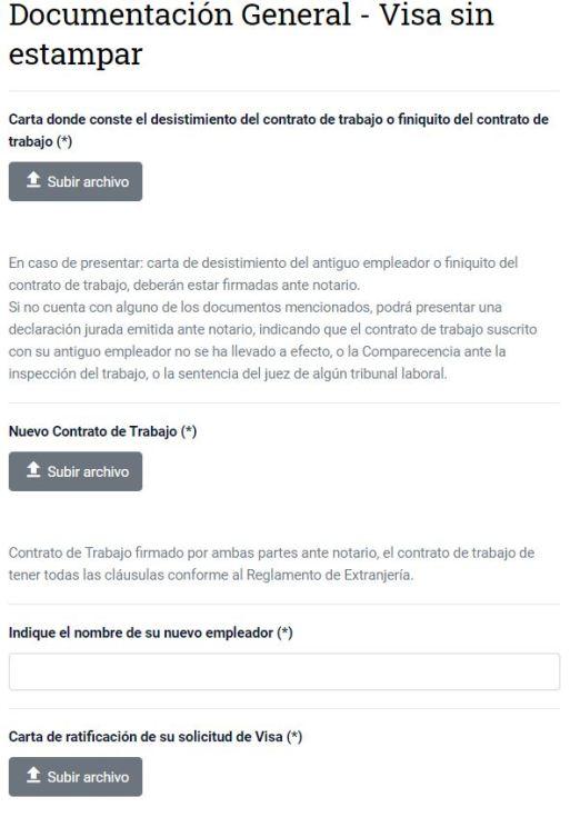 Ingresar documentación para cambio de empleador