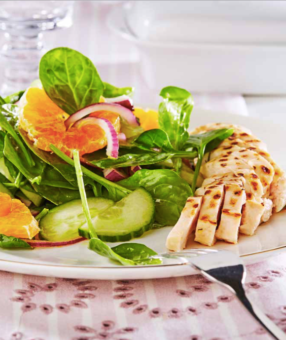 Grilled Chicken Spinach Salad with Oranges