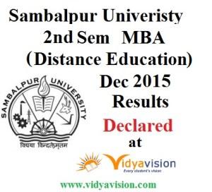 Sambalpur University MBA 2nd Sem Dist Ed Dec 2015 Results
