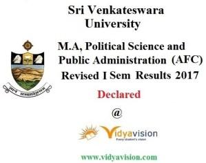 SVU M.A Political Science and Public Admn 1st Sem Results 2017
