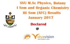 SVU M.Sc I & III Sem Results 2017