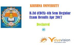 KRU B.Ed(CBSC) 4 th sem regular exam results apr 2017