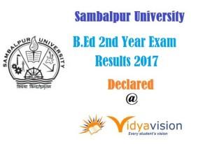 Sambalpur University B.Ed 2nd Year Exam Results 2017