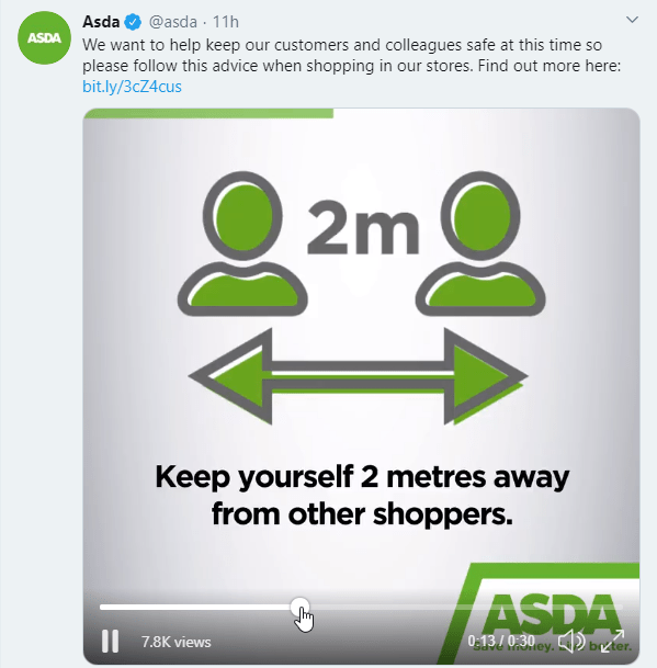 Asda shows video with advice for customers and staff to ensure safe shopping