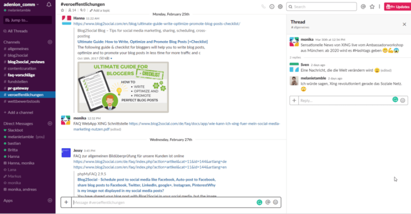 Slack chat tool for fast and easy communication with remote working teams