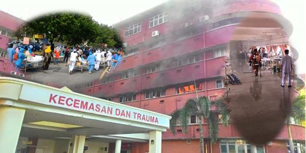 Gambar Kebakaran Hospital Sultanah Aminah Johor Bahru