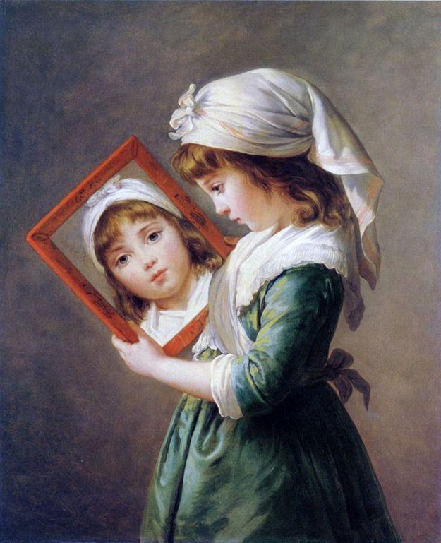 """Jeanne Julie Louise Le Brun se regardant dans un miroir"""""""