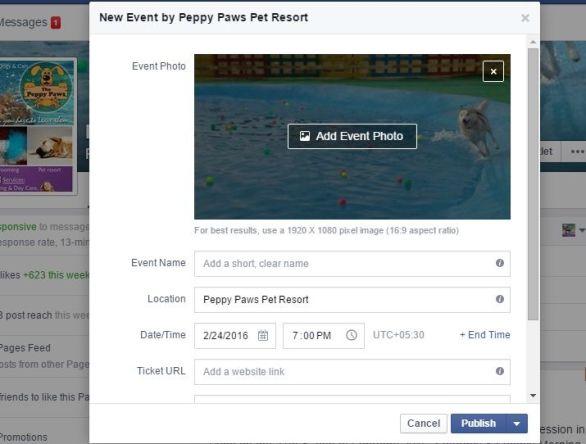 New Event Popup Facebook