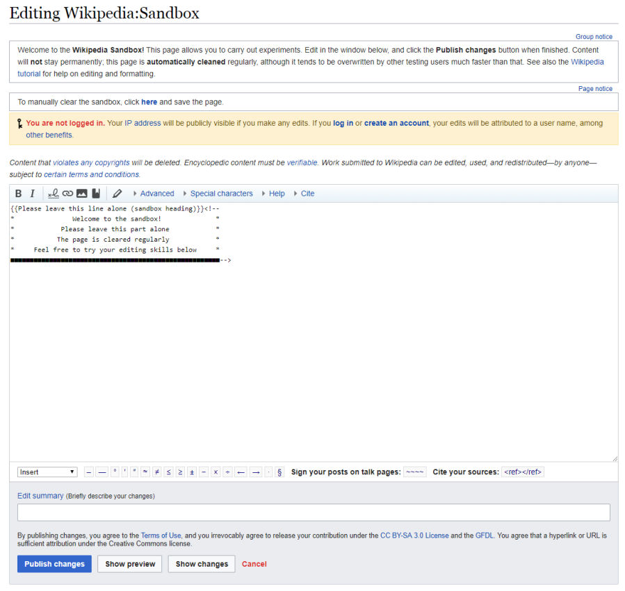 Editing Wikipedia Sandbox