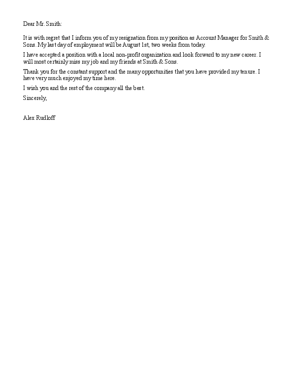 Sample Of Resignation Letter Due To Career Change | Use ...