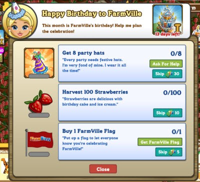 FarmVille 2nd Birthday Goals