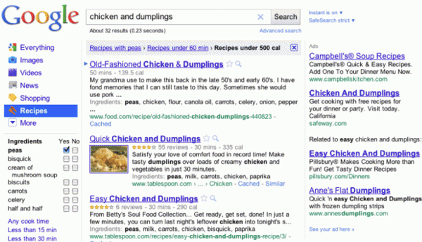 Google stirs cooking recipes into search results
