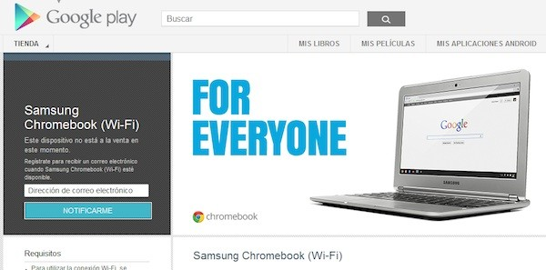 Los Chromebook de Samsung con CPU ARM A15 disponibles en la tienda Play por 250 dólares
