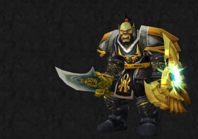 A bearded, green-skinned orc warrior wearing his hair in a topknot and clothed in gold and gray armor.  He is carrying a sword and a shield.