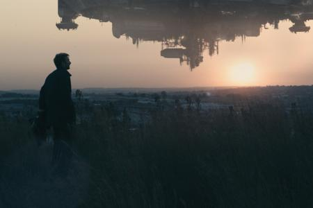 A shot of the alien spaceship in District 9 also highlights the Johannesburg landscape.