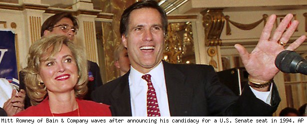 Mitt Romney of Bain & Company waves after announcing his candidacy for a U.S. Senate seat in 1994. AP