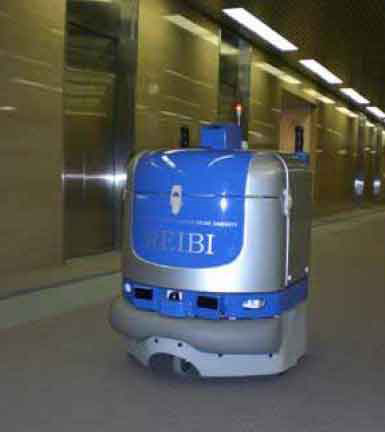 Floorcleaning robot in Japanese office building can ride